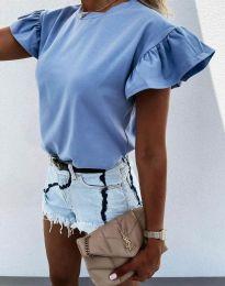 Дамска тениска с ефектни ръкави в синьо - код 4352