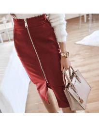 Елегантна пола в цвят бордо - код 4789