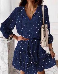 Стилна дамска рокля в тъмносиньо на точки - код 7113