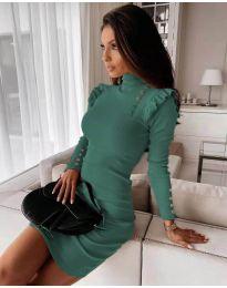 Елегантна рокля по тялото в цвят тюркоаз - код 8484