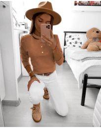 Дамска блуза в цвят кафяво - код 9233