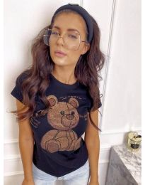 Дамска тениска в черно с принт - код 2170