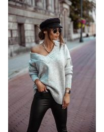 Дамски пуловер в сиво - код 5952