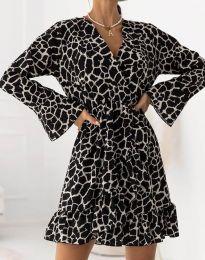 Дамска рокля с ефектен десен - код 2726 - 1