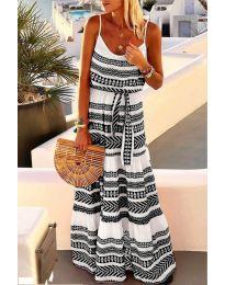 Дълга рокля с атрактивен десен в черен цвят - код 621