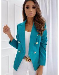 Вталено дамско сако с копчета в цвят тюркоаз - код 426