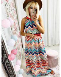 Дълга рокля с атрактивен десен  - код 9859