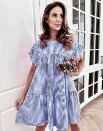Карирана дамска рокля в синьо - код 6111