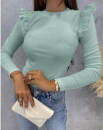 Дамска блуза с къдрички в цвят мента - код 1663