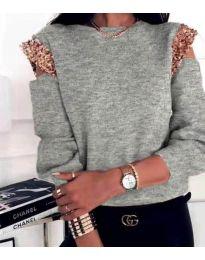 Атрактивна дамска блуза в сиво - код 1539