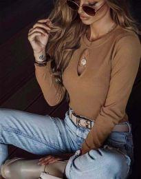 Ефектна дамска блуза в кафяво - код 2859