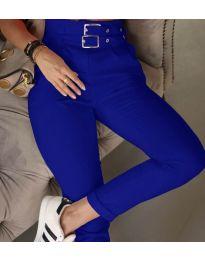 Стилен дамски панталон по крака в синьо - код 317