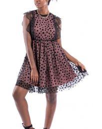 Стилна рокля в розово и черно - код 8881