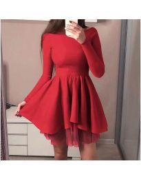 Кокетна рокля с разкроена долна част в червено - код 279
