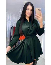 Екстравагантна рокля в тъмно зелено - код 5931