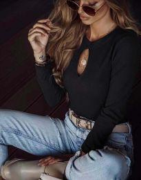 Ефектна дамска блуза в черно - код 2859