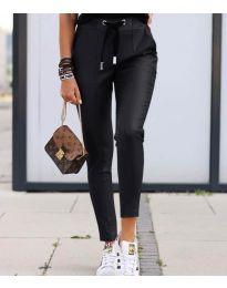 Черен панталон с връзки - код 5896