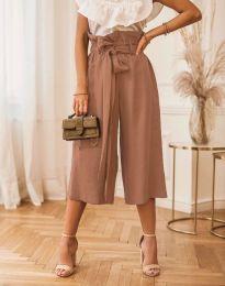 Атрактивен дамски панталон в кафяво - код 2136