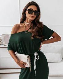 Атрактивна дълга рокля в масленозелено - код 11973