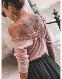 Дамска блуза в цвят пудра  - код 188