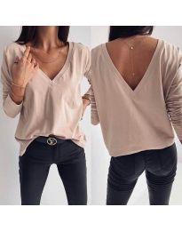 Дамска блуза с изрязан гръб в бежово - код 3376