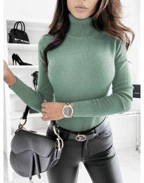 Дамска блуза с поло яка  в цвят мента - код 8861