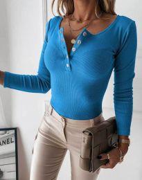 Дамска блуза с копчета в синьо - код 1553