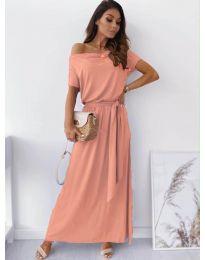 Изчистена рокля в цвят пудра - код 7700