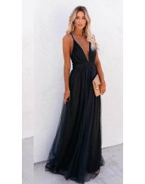 Ефирна дълга рокля в черно - код 5587