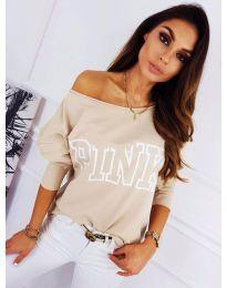 Блуза с принт в бежово - код 5464