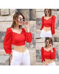 Къса дамска блуза в червено - код 3099