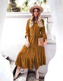 Дамска рокля в кафяво - код 6522
