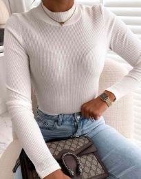 Блуза с поло яка в бяло - код 0688