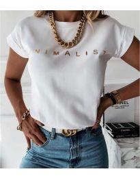 Дамска тениска в бяло - код 4079