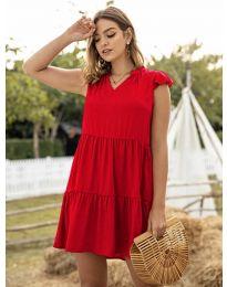 Свободна дамска рокля в червено - код 696