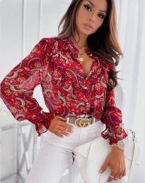 Дамска риза в червено с флорален десен - код 1417