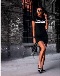 Черна дамска рокля с надпис SUPERE - код 217