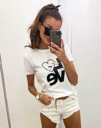 Бяла тениска с принт - код 2579