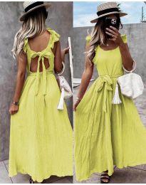 Дълга рокля с ефектен гръб в жълто - код 4806