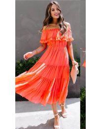 Феерична рокля в цвят корал - код 699