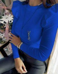 Изчистена дамска блуза в синьо - код 0142