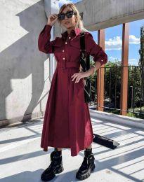 Дамска рокля в цвят бордо - код 1467
