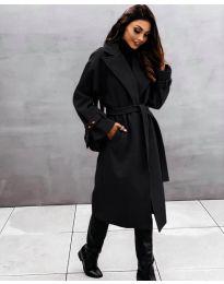 Дамско палто с колан в черно - код 410