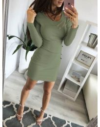 Дамска рокля по тялото в маслено зелено - код 3298