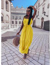Дълга дамска рокля в жълто - код 1230