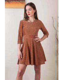 Стилна рокля от бляскава материя в кафяво - код 923