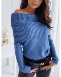 Дамска блуза от фино плетиво в синьо - код 3507
