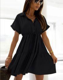 Разкроена дамска рокля в черно - код 6292
