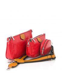 Дамска чанта от три части в червено - код NH2889