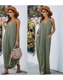 Свободна дълга рокля в маслено зелено - код 0209